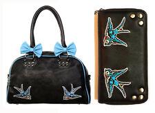 Banned Swallows Bows 50s Rockabilly Handbag & Wallet SET Shoulder Bag Black Blue