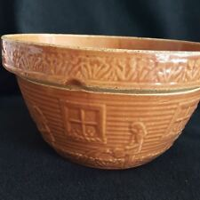 "McCoy Vtg Pottery Bowl USA 166 7"" Girl Watering Can Window Box Flowers Pumpkin"
