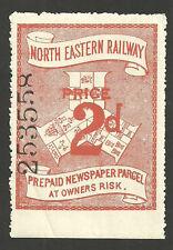 2D RED NORTH EASTERN RAILWAY PREPAID NEWSPAPER PARCEL STAMP MINT WITH GUM