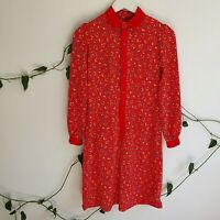Vtg Handmade 60s 70s Red Heart Floral Bouquet Mini Shift Dress XS Long Sleeves