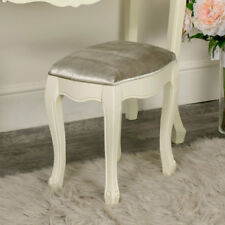 Cream painted upholstered dressing table stool shabby chic French bedroom seat