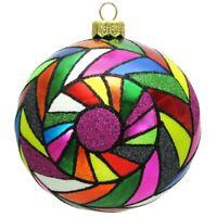 Multicolored Tiles Pop Art Polish Glass Ball Christmas Tree Ornament Made Poland