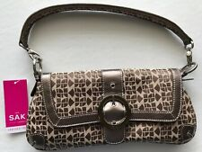 The Sak Handbag Purse Shoulder Clutch Buckle Snap Brown Pattern Tan