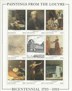 G35 Guyana - 1993 5 mini-sheets, Art of the Louvre-  CV $40 - 5 scans