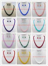 Wholesale 6-14mm Ruby Jade Aquamarine Gemstone Round Beads Necklace Earring18''