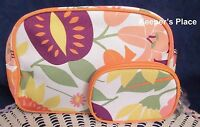 2 Clinique Orange Floral Makeup Travel Zippered Cases New