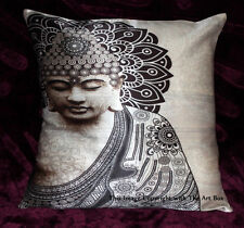 indian Cushion Covers Lord Buddha Art 16X16 Hippie Bohemian Homedecor Silk Blend