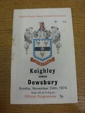 24/11/1974 programma Rugby League: keighley V Dewsbury [AUTOGRAFATO all'interno da: P