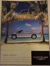 "2001 Sebring LXi Convertible Original Print Ad-8.5 x 10.5 ""Paradise Found"