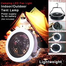 Portable Outdoor Camping LED Fan Light Tent Lamp  Hiking Gear Equipment W/Hook