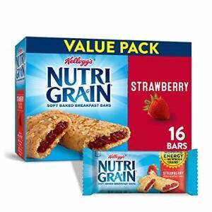 Kellogg's Nutri-Grain Soft Baked Strawberry Breakfast Bars - School Lunchbox...