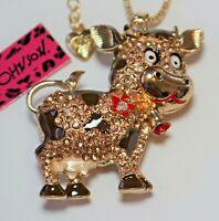 NEW! Betsey Johnson Crystal Rhinestone Enamel Cow Necklace Pendant
