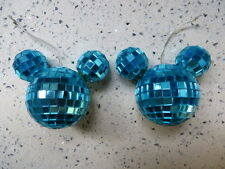 2 Disney Store Mickey Mouse turquoise  disco mirror ball Christmas Ornaments