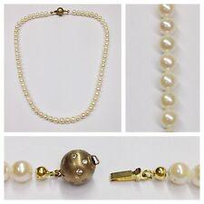 perles de culture collier 375er doré obturateur 43 cm Or Jaune Blanches Pierres