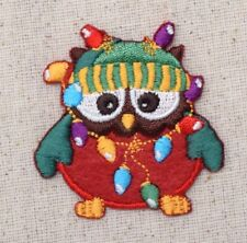 Owl - Christmas Lights/Beanie/Red Sweater - Iron on Applique/Embroidered Patch