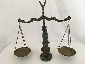 Vtg Solid Brass Marble Stone Eagle Top Scales Of Justice