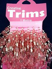 Beaded Trim 1m Pink Faceted Drops Beads Sewing Lampshade FREE POSTAGE