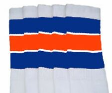 "22"" KNEE HIGH WHITE tube socks with ROYAL BLUE/ORANGE stripes style 5 (22-134)"