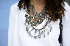 Zara Silver Look Unique Bib Dress Special Charm Statement Necklace New