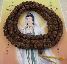 8mm Tibetan Buddhism 108 Old Vajra Bodhi Seeds Prayer Bead Mala Necklace
