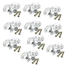 10pcs diamant Verre Cristal Porte Tiroir Meubles Cabinet Poignee Bouton Vis WT