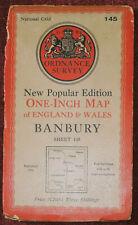 "ORDNANCE SURVEY NEW POPULAR EDITION 1"" LINEN BACKED MAP OF BANBURY - 1946"