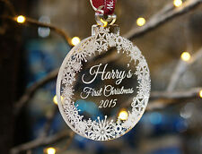 Personalised Christmas Tree Decoration Gift Bauble, baby, Name Engraved Free