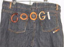 CooGi Vaqueros Jeans Negros Mujer Talla Grande 24 Marrón/dorado Puntadas