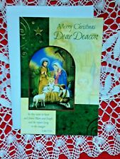 """""""MERRY CHRISTMAS DEAR DEACON Greeting Card, Gold Embossed NEW with envelope"""