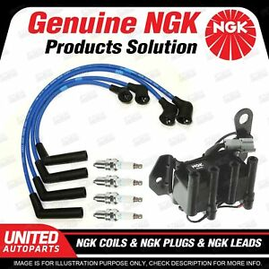 NGK Spark Plugs Coils Leads Kit for Hyundai S Coupe 1N Excel X3 1.5L 4Cyl