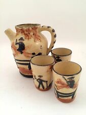 VINTAGE MADE IN JAPAN CERAMIC PITCHER CUP SET HORSE JUMPING BAR ANTIQUE POTTERY