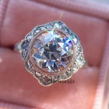2.45CT Off White Real Moissanite Vintage Art Deco Engagement Ring 925 Silver