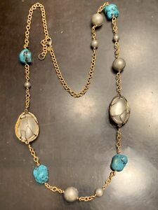"""Alexis Bittar Fancy Cut Turquoise & Pearl Station Necklace 32"""""""