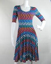 Lularoe Nicole Fit Flare Dress Boat Neck Blue Orange White Green Women's Size XS