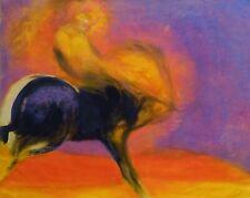 RODEO original large oil painting horse race rider americana 64x81 cm BELAUBRE