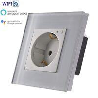 WiFi Smart Steckdose WLAN Wandsteckdose Schuko Alexa UP Weiß Glasrahmen LUX99-11