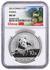 2014 China 10Y 1 Oz .999 Silver Panda Coin NGC MS69 (Great Wall Label)  SKU31063