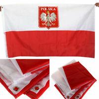 3x5 Poland Flag with Eagle Polish Banner Polska Country M0U1 Pennant Best U8Z4