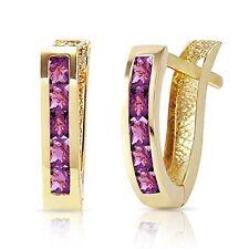 0.85 CTW 14k Solid Gold Oval Huggie Princes Shape Earrings Purple Amethyst Stone