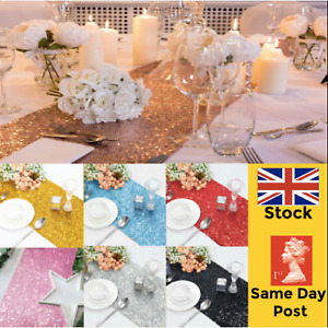 GLITTER SEQUIN TABLE RUNNERS CLOTH Wedding Runner Rose Gold Silver Sparkly