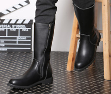 Fashion Men's Leather Equestrian Military Boots Mid Calf Riding Casual Shoes New