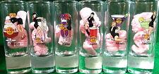 "Hard Rock Cafe ONLINE 2006 Cocktail Waitress Sexy Girls Set of 6 SHOT GLASS 4"""