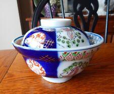Antique Meiji Hizen Imari Arita Ware Covered Rice Bowl Japan
