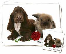 Spaniel + CONEJO+ Rosa 'Love You Mum' Individual 2x Manteles + 2x Posavasos S,