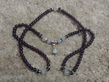 Purple Amethyst Prayer Meditation Yoga With Moonstone Necklace/Bracelet