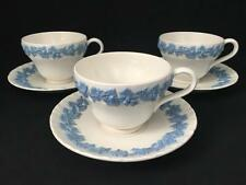 SET 3 CUPS & SAUCERS WEDGWOOD QUEENSWARE LAVENDER ON CREAM SHELL EDGE OUTSIDE
