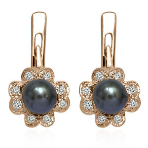 14k Solid Rose Gold Genuine Diamond and Black Pearl Russian Style Earrings E1287