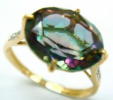 PRETTY 10KT YELLOW GOLD 4CT MYSTIC TOPAZ & DIAMOND RING SIZE 7   R1043
