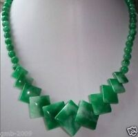 """Pretty Natural Green&White Jade Gemstone Round&Square Beads Necklace 17""""AAA"""
