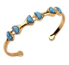 CRESCENT MOON TURQUOISE STONE Crystal Rhinestone Gold Open Cuff Bangle Bracelet